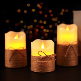 $enCountryForm.capitalKeyWord NZ - DHL 3-Piece Suits Hemp rope LED Electronic Candles with remote control pillar scented bougie velas Electric for Birthday Wedding Party Home