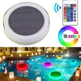 decorative pool lighting 2019 - RGB LED Underwater Light Solar Power Pond Outdoor Swimming Pool Floating Waterproof Decorative LED Light With Remote Con