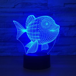 $enCountryForm.capitalKeyWord Australia - 3D USB Powered Night Light Fish 3D LED Night Light 7 Color Touch Switch Led Lights Plastic Lampshape Atmosphere Novelty Lighting