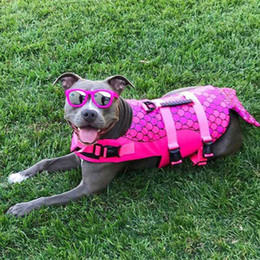 Pet Dog Life Jacket Safety Clothes Life Vest Collar Harness Saver Pet Dog Swimming Preserver Summer Swimwear Mermaid Shark Harmonious Colors Dog Clothing & Shoes