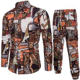 Men Suits Flowers Australia - New Direct Selling Single Full Flowers Drawstring 2018 Men Take Long-sleeved Shirt Render Men's Fashion Leisure Suit A032