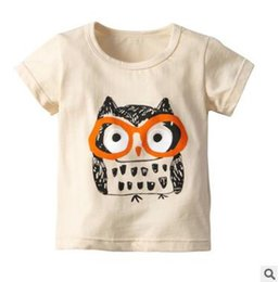 Wholesale Kids Boys Girls Cartoon Animal Owl Tops T Shirts Summer Short Sleeve Cotton T shirt Tops Tee Shirt Kids Clothing Tops Baby Clothes