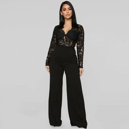 a3f08c374dc 2019 Summer Fashion Nova Woman Jumpsuit Elegant Transparent Bodycon Romper  Bell Bottom Jumpsuit Long Sleeve Black Lace Overalls