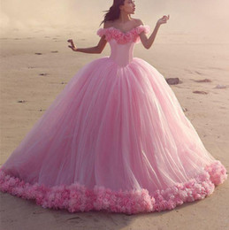 16 year girl sexy pictures NZ - Puffy Pink Quinceanera Dresses Princess Cinderella Long Ball Gown sweety 15 year girls Off Shoulde Off Shoulder 3D Flower Prom Dresses