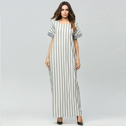 74a89d3ab1c Cotton And Linen Elegant Stripe Patchwork maxi long dress Weekend Casual  Loose T shirt dress Summer Vestido Robe