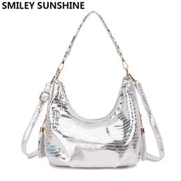 590f3350b093a SMILEY SUNSHINE Hobo Messenger Bag Damen Schultertasche Damen Handtasche  2018 Silber Kleine Crossbody Damen Handtasche Weibliche Tote