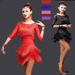 dresses for latin dance competitions NZ - Sexy Red Tango Dress Salsa Latin Dance Dress Women Lace Fringe Ballroom Dance Competition Dresses For Sale