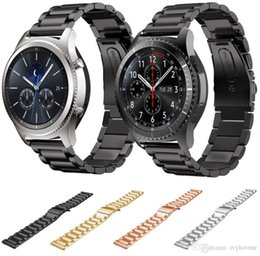 Samsung Gear Smart Watch Australia - 22MM Stainless Steel watch Band for Samsung gear S3 Classic Metal Strap for Gear S3 Smart Watch 3 link Watchband