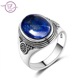 lapis rings 2020 - Charm Noble 100% 925 Silver Ring 10x14MM Lapis Lazuli Wedding Ring Girl Female Party Anniversary Birthday Gift discount