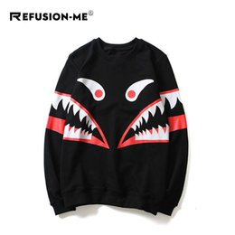 $enCountryForm.capitalKeyWord Australia - Pullover couple shark mouth printing round neck long sleeve t tooth print top hip hop loose coat large size new wholesale