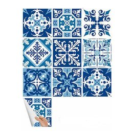 tiles wall art Australia - Blue White Art Pattern Tile Wall Sticker DIY Decor Waterproof Adhesive Mural Stickers Furniture Sticker Decals Kitchen Bathroom Sticker Set