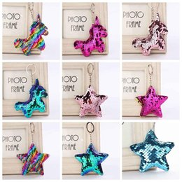 Unicorn rings online shopping - Sequin Unicorn Star Key Chain Christmas Keyring Cell Phone Bag Pendant Keychain Mermaid Key Ring Home Decor Party Favor styles