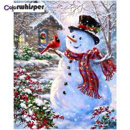 snowman paintings UK - Diamond Painting 5D Full Square Round Drill Merry Christmas Snowman Snow Scene Daimond Embroidery Painting Cross Stitch Pic Z610