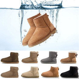 2019 New winter Australia Classic snow Boots good fashion WGG tall boots real leather Bailey Bowknot women's bailey bow Knee Boots mens shoe on Sale