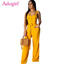 $enCountryForm.capitalKeyWord NZ - Adogirl Solid Fashion Casual Loose Jumpsuit with Belt Buttons Pockets Spaghetti Straps Romper Women Overalls Suspender Trousers