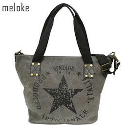 Discount vintage factory lighting - Meloke 2019 Big Star Printing Vintage Canvas Shoulder Bags Women Travel Tote Factory Outlet Plus Size Multifunctional Bo