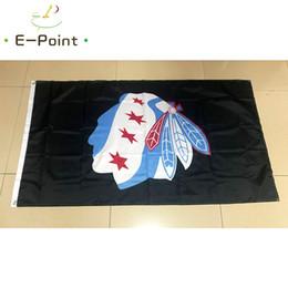 Discount blackhawks flag - NHL Chicago Blackhawks 3*5ft (90cm*150cm) Polyester flag Banner American decoration flying home & garden flag