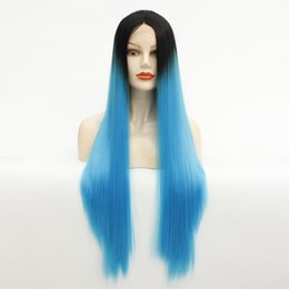 dark blue long straight wig NZ - Lace Front Wig 26 Inches Ombre Blue Dark Roots Long Straight Natural Hand Tied Silky and Soft Heat Resistant Synthetic Lace Wig