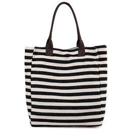 0c04d5e112473 Women Stripes Canvas Beach Bag Large Capacity Female Zipper Shoulder Bag  Ladies Polyester Totes Girl'S Casual Shopping Handbag