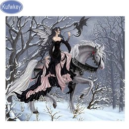 Discount horses painting frame - fairy horse Diamond Embroidery sale,5d DIY Diamonds Painting Rhinestones painting snow 3d Cross Stitch 3d Picture mosaic