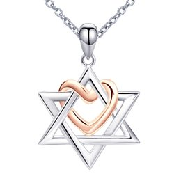 $enCountryForm.capitalKeyWord Australia - The State Of Israel 925 Sterling Silver Chain Love Heart Pendant&necklaces For Women David Girl Cross Jewelry Y19061703