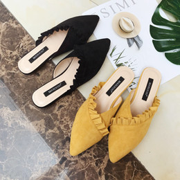 Wholesale Pretty2019 New Long term Sharp Lotus Leaf Half Slipper Muller Cool Shoes