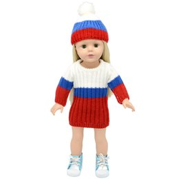 Wool Clothing Children Canada - 16 inch to 18 inchs doll clothes sweater coat with hats and skirt for child party gift toys--Doll Clothes Accessories for Girl