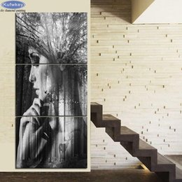 Painting Faces Australia - 3 PCS Retro Pictures diamond Painting Abstract forest woman face Diamond mosaic Rhinestone pictures Black and White Wall Decor