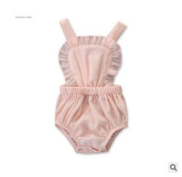 toddler girls bubble romper 2019 - Baby Girls Backless Romper Jumpsuit 2019 Summer Girls Sleveless Bubble Cotton Ruffle Bodysuit Infant Toddler Clothes One