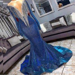 reflective straps Canada - 2020 Sparkly Sequins Mermaid Prom Reflective Dresses Beads High Neck Long Sleeves Mermaid Evening Gowns Sweep Train Formal Party Dress