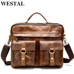 $enCountryForm.capitalKeyWord Australia - WESTAL Messenger Bag Men's Genuine Leather 14'' Laptop Bag Business Portable Top-Handle Bags Male Crossbody Shoulder Bags 8001 Y190612