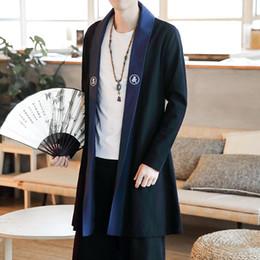 Chinese Robe Men Australia - Male Overcoat Men Cotton Linen Long Slim Fit  Coat Chinese Style ea0e637fa