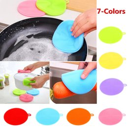 Fruit Cleaner Australia - New Style Multifunctional Food Grade Kitchen Silicone Cleaning Brush Dish Bowl Cleaner Tool Circular Fruit And Vegetable Cleaning Brush