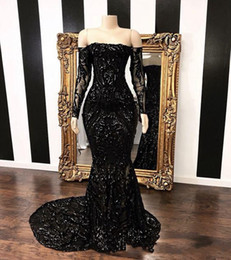2020 Black Off The Shoulder Mermaid Plus Size Special Occasion Dresses 2020 New Long Sleeve Sweep Strain Sequined Formal Evening Gowns on Sale
