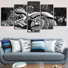 motorcycle painting art 2020 - 5 Panels Heavy Motorcycle White Balck Artworks Giclee Canvas Wall Art for Home Decor Abstract Poster Canvas Print Oil Pa