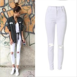 White Ripped Jeans Australia - SupSindy women white jeans Ankle-Length Pencil Pants ladies skinny jeans woman fashionable ripped women high waist
