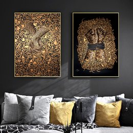 $enCountryForm.capitalKeyWord Australia - WANGART Love Black Gold Islamic Calligraphy Paintings Canvas Modern Art Portrait Prints Wall Pictures For Living Room Home Decor