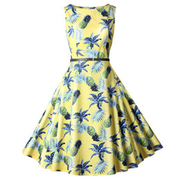 ae4f1d608f541 New Summer Dress Women Audrey Hepburn Vintage 50s 60s Club Party Dress  Casual Floral Print Retro Rockabilly Pinup Dresses