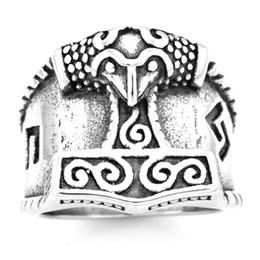 $enCountryForm.capitalKeyWord Australia - FANSSTEEL stainless steel vintage mens or wemens jewelry celtic THORS HAMMER RING TOOL RING FSR20W78