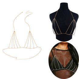 Bikini Chains Accessories Australia - New Women Ladies Sexy Bra Chest Belly Chains Summer Beach Party Rhinestone Brassiere Body Chain Bikini Tops Body Jewelry Fashion Accessories