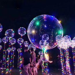 "Toys Lighting Australia - LED Light Bobo Ball Balloon with Flashing Wave Night Lights 3M String 20"" LED Luminous Clear Helium Balloons Christmas Party Decoration Toys"