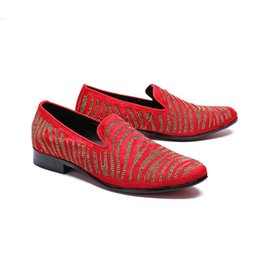 Red Leather Dresses Australia - Red Fashion 2019 Men Shoes Leather Dress Shoes Men with Crystals Red Wedding and Party Shoes Men Erkek Ayakkabi Flats big size 45 46