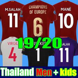 38e3f1509 2019 2020 New Mohamed Salah soccer jersey 6 trophy 2019 MANE Tops VIRGIL  football shirt camiseta FIRMINO Kits ALISSON BECKER Black maillot