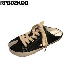 $enCountryForm.capitalKeyWord NZ - Sandals Black Retro Canvas Shoes Large Size Denim Cloth Women Slippers Jeans Slip On Lace Up Sneakers Leopard Print Brand Mules