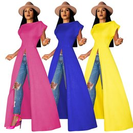 Maxi T Shirts Sexy Australia - Women Short Sleeve Maxi Dress Front Split Long Skirts Sexy Casual Summer clothes night club sexy Top long t-shirt plus size s-2XL 666