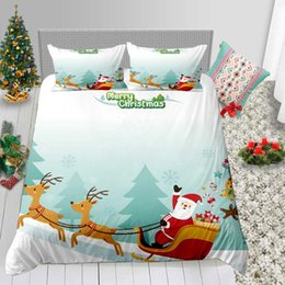 3d bedding set white rose Australia - Cartoon Print Bedding Set Christmas Kids 3D Duvet Cover Santa Series King Queen Single Double Twin Full Bed Cover with Pillowcase 3pcs