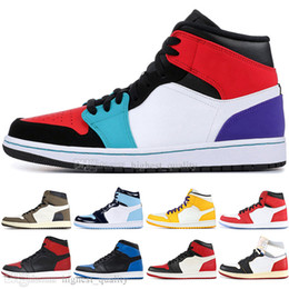 Discount rhinestone high top sneakers - Best Quality 1 High OG Travis Scotts Cactus Jack UNC Spiderman Mens Basketball shoes 1s Top 3 Banned Bred Toe Men Sports