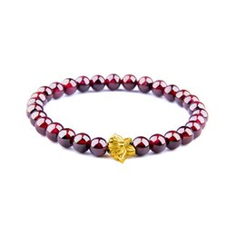 natural garnet stones Canada - Women Bracelet Natural Garnet Bracelets Men Fashion Charm Bracelets Women Stone Beads Jewelry Femmes