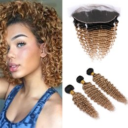 $enCountryForm.capitalKeyWord Australia - Dark Roots Brown Blonde Ombre Brazilian Curly Hair Bundles with Frontal Lace Closure Deep Wave 1B 27 Honey Blonde Human Hair and Frontals