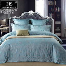 Hand Dyed Bedding Australia - High Quality Egyptian Cotton Yarn Dyed Jacquard Baroque Paisley Design Bedding set Sheets Duvet Cover Pillowcase Queen King Size